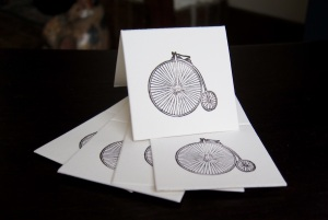 Mini notecards with a cool letterpressed penny farthing bicycle