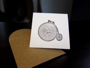 Penny Farthing mini note with envelope