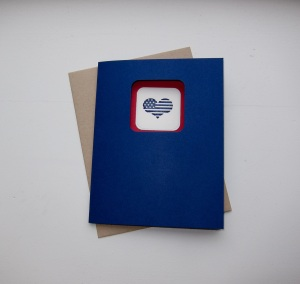 Patriotic Heart Flag Card